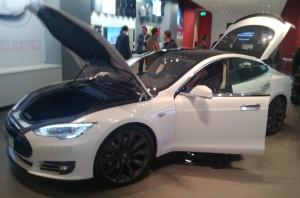 The Model S snapped in Tesla's West London store