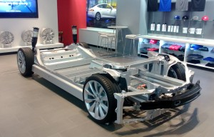 The Tesla Model S chassis has a low centre of gravity and plenty of luggage space front and rear thanks to its compact electric drivetrain